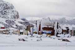 El Chalten covered with snow royalty free stock photos