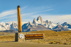 El Chalten, Patagonia, Argentina. Signpost wich translate `Viedma Lake, World Heritage` with patagonian andes range landscape mountain at background at El Royalty Free Stock Photos