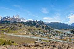 El Chalten village aerial view and Mount Fitz Roy in Patagonia - El Chalten, Argentina Royalty Free Stock Photography