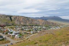 El Chalten village aerial view in Patagonia - El Chalten, Argentina stock photography
