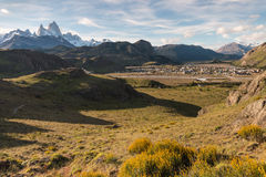 El Chalten village with mount Fitz Roy Royalty Free Stock Images