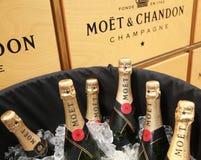 El champán de Moet y de Chandon presentó en el centro nacional del tenis durante el US Open 2016 Imagen de archivo libre de regalías