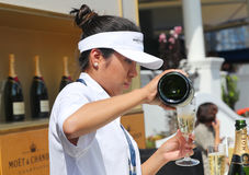 El champán de Moet y de Chandon presentó en el centro nacional del tenis durante el US Open 2016 Fotos de archivo