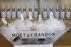 El champán de Moet y de Chandon presentó en la nación Imagen de archivo