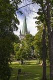 El chapitel de la catedral de Strondheim Imagen de archivo libre de regalías