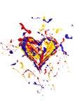 El chapoteo colorido de la pintura hizo el corazón Foto de archivo