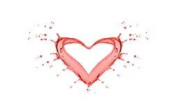 El chapoteo de la forma del agua roja le gusta un corazón Fotos de archivo libres de regalías