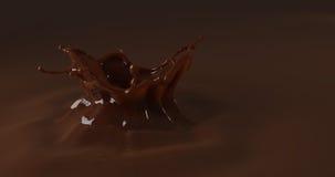 El chapoteo del chocolate del descenso dulce, el líquido marrón 3d rinde el illustr stock de ilustración