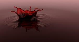 El chapoteo del vino del solo descenso, el líquido rojo 3d rinde el ejemplo ilustración del vector