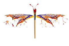 El chapoteo rojo amarillo blanco azul de la pintura hizo la libélula Fotografía de archivo libre de regalías