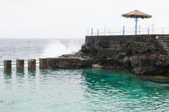 El charco azul,蓝色水池,拉帕尔玛岛海岛,西班牙 库存照片