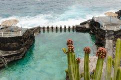 El charco azul,蓝色水池,拉帕尔玛岛海岛,西班牙 免版税图库摄影
