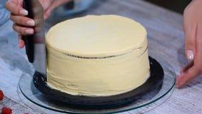 El chef de repostería hace una torta con sus propias manos y lo adorna con las bayas almacen de metraje de vídeo
