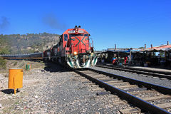 El Chepe train, Copper Canyon, Mexico. El Chepe train at Divisadero train station, Copper Canyon, northern Mexico Royalty Free Stock Images