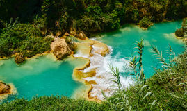 El Chiflon waterfall, Chiapas, Mexico, May 21. El Chiffon, the tallest waterfall in Chiapas and the turquoise waters of its river royalty free stock photography