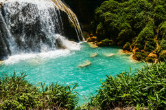 El Chiflon waterfall, Chiapas, Mexico, May 21. El Chiffon, the tallest waterfall in Chiapas and the turquoise waters of its river stock photography