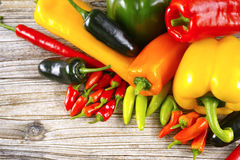 El chile picante mexicano sazona el serrano colorido j del poblano con pimienta de la paprika de la mezcla Fotografía de archivo