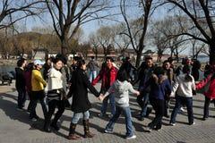 El chino masivo escoge la reunión en Pekín China Fotos de archivo