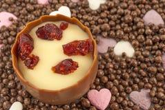 El chocolate con leche liso con un centro aromático de la trufa del brandy de la cereza, adornado con el arándano secado azucarad Imagenes de archivo