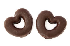El chocolate cubrió corazones del pan de jengibre Fotografía de archivo libre de regalías