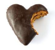 El chocolate cubrió el corazón del pan de jengibre Fotografía de archivo