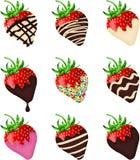El chocolate cubrió las fresas Fotografía de archivo