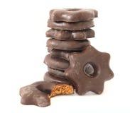 El chocolate cubrió las galletas del pan de jengibre Fotos de archivo libres de regalías