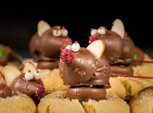 El chocolate cubrió el ratón encima de las galletas Imagenes de archivo
