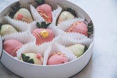 El chocolate gastrónomo cubrió las fresas en una caja de regalo redonda fotografía de archivo libre de regalías