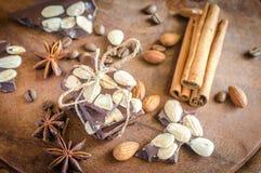 El chocolate junta las piezas con la especia, el canela y el anís imagenes de archivo