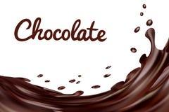 El chocolate salpica el fondo Café o chocolate caliente de Brown con descensos y pernos en el fondo blanco, vector Fotografía de archivo