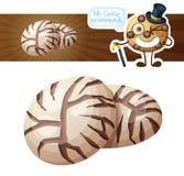 El chocolate se arruga el ejemplo de las galletas Icono del vector de la historieta aislado en el fondo blanco stock de ilustración