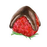 El chocolate sumergió las fresas en la barra del postre Foto de archivo libre de regalías