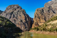 El Chorro gorge along the famous Caminito del Rey path in Andalusia, Spain. El Chorro gorge along the famous Caminito del Rey footpath, Andalusia, Spain stock image