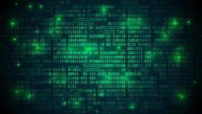 El ciberespacio futurista abstracto con el código binario, fondo de la matriz con los dígitos, organizó bien capas