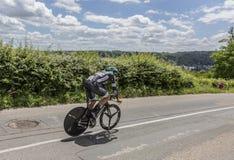 El ciclista Andreas Schillinger - Criterium du Dauphine 2017 Fotos de archivo
