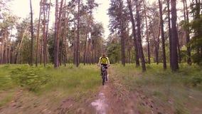 El ciclista del hombre monta las trayectorias de bosque metrajes