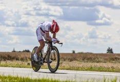El ciclista Denis Menchov Imágenes de archivo libres de regalías