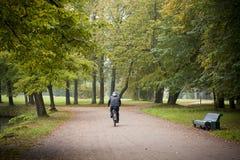 El ciclista monta en parque vacío del otoño en la trayectoria limpia y banco a la derecha Fotografía de archivo libre de regalías
