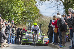 El ciclista Patrick Bevin - 2016 París-agradable Imagenes de archivo