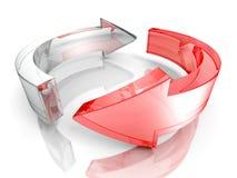 El ciclo del concepto de dos vidrios o recicla flechas libre illustration