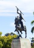 El Cid on horseback statue, Balboa park. The statue of El Cid, Rodrigo Díaz de Vivar, a spanish medieval hero on a horse holding a spear and shield. The Stock Photo