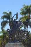 El Cid on horseback statue, Balboa park. The statue of El Cid, Rodrigo Díaz de Vivar, a spanish medieval hero on a horse holding a spear and shield. The Stock Photos