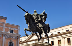 El Cid. Statue of El Cid mounted on horseback with sword in Burgos Stock Photo