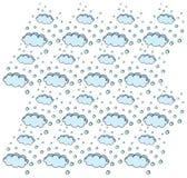 El cielo con las nubes y la nieve que cae Imágenes de archivo libres de regalías