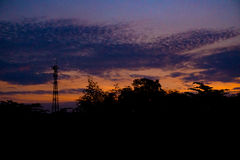 El cielo cuando puesta del sol Fotos de archivo libres de regalías