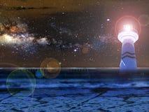 el cielo de la galaxia de la casa ligera de la noche y len la llamarada Imágenes de archivo libres de regalías