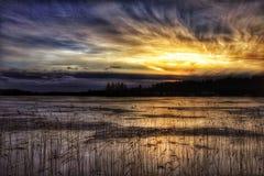 El cielo de la puesta del sol se nubla el hielo hermoso del lago winter de la naturaleza de los árboles de los colores al aire li Fotografía de archivo libre de regalías