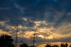 El cielo en el momento de la puesta del sol Fotografía de archivo libre de regalías