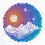 El cielo nocturno con las montañas ajardina, planeta, luna, elementos de la naturaleza Ejemplo aislado del vector del vintage inv ilustración del vector